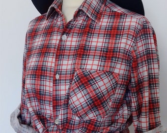 2750b839 Brushed Cotton Western Shirt - Unisex - Red White & Blue Checkered - SALE