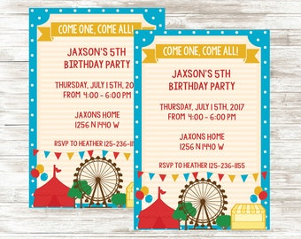 Carnival Invitation Printable Boy Birthday Party Invite Five Year Old Fair Circus