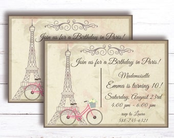 French Paris Tea Party Invitation Birthday Printable Post Card 10 Year Old Digital Download Invite Eiffel Tower