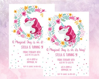 Unicorn Birthday Party Invitation Magical Celebration 9 Year Old Little Girl Invite Printable Digital