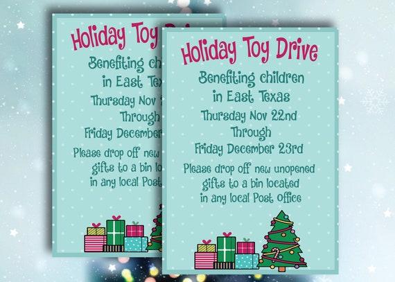 Christmas Fundraiser Flyer.Toy Drive Flyer Christmas Flyer Holiday Food Drive Fundraiser Handout School Church Community Printable Invitation