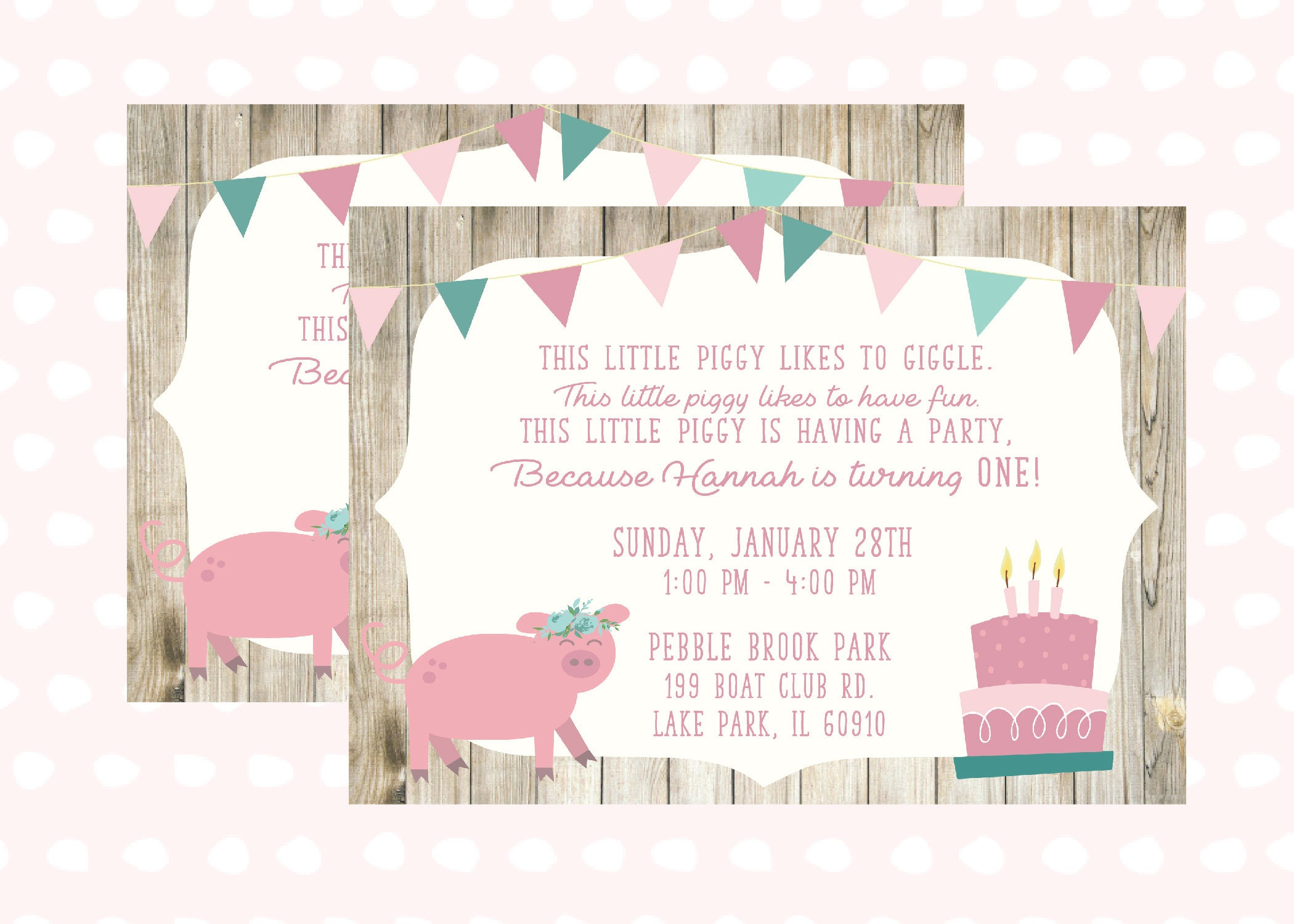 Pig First Birthday Invitation 1 Year Old Little Girl