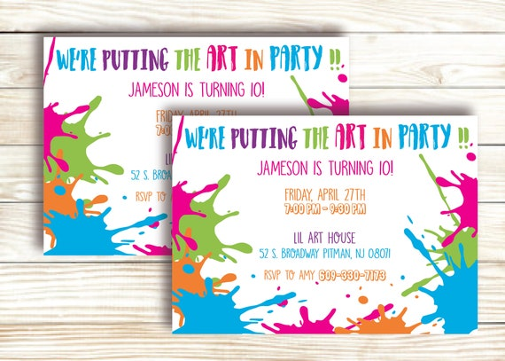 Art Party Invitation Paint Birthday