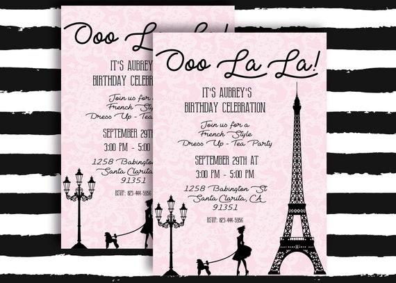 French Paris Tea Party Invitation Girl Birthday Invite 9