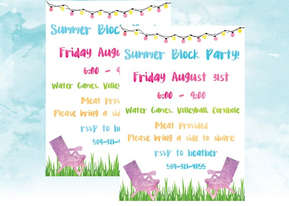 neighborhood block party invitation bbq end of school
