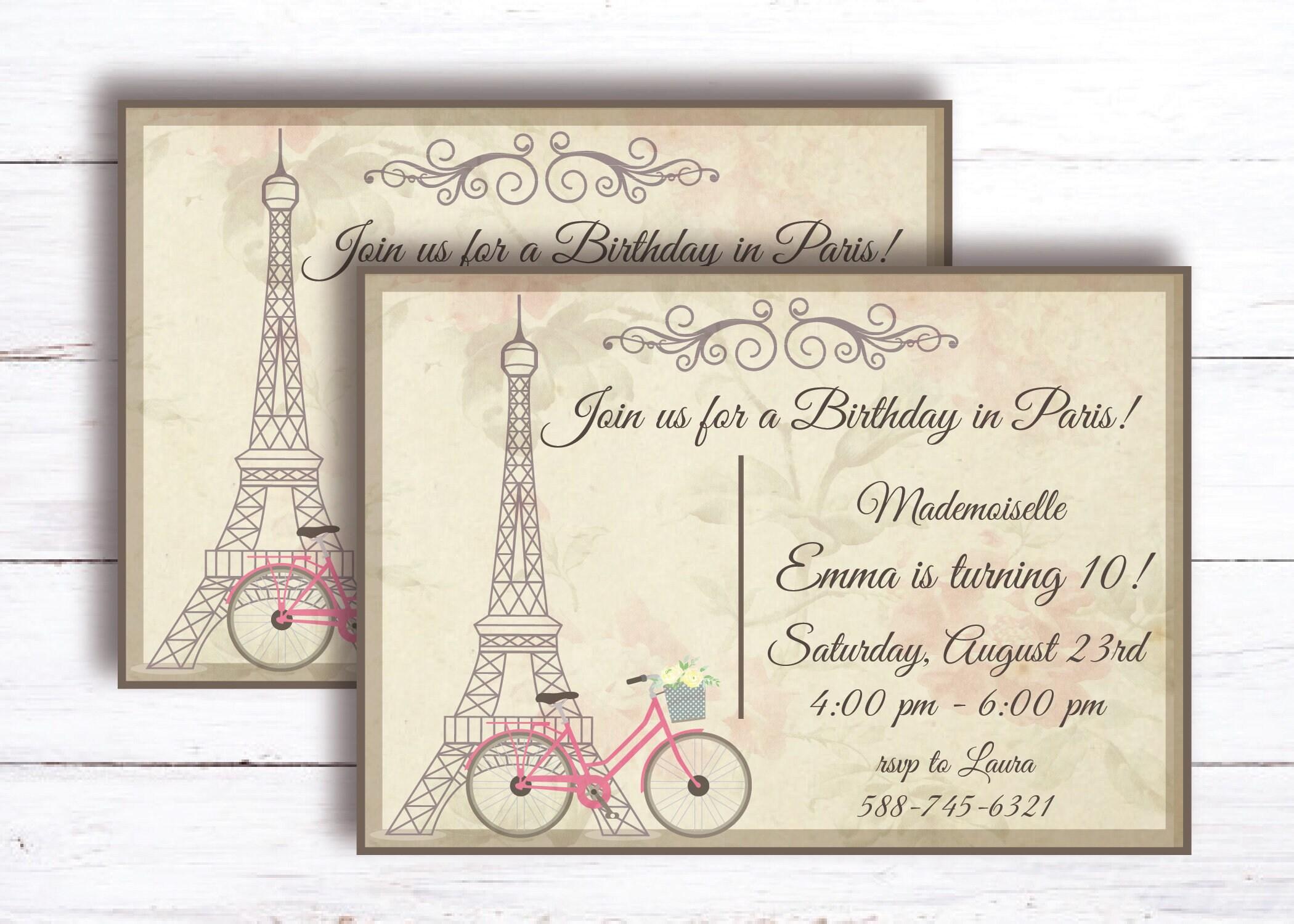 French Paris Tea Party Invitation / Birthday / Printable / | Etsy