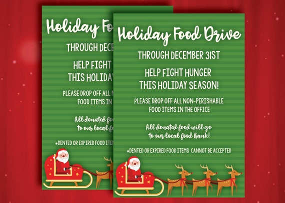 Food Drive Flyer Toy Drive Christmas Flyer Toys For Tots Christmas School Fundraiser Community Service Printable Digital