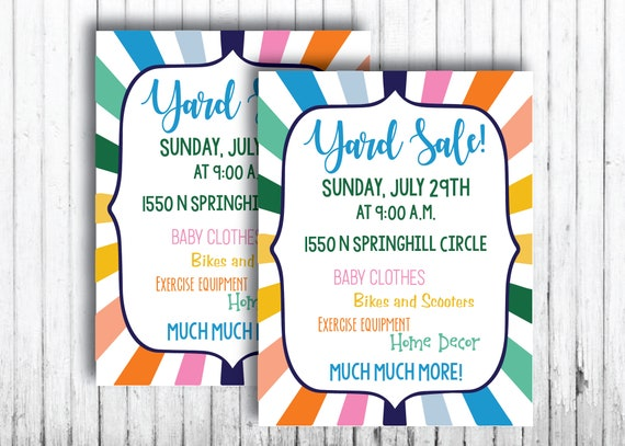 yard sale flyer printables