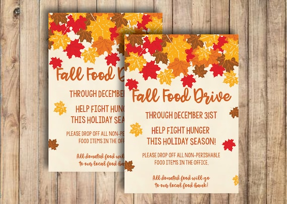 Food Drive Flyer Fall Festival Fundraiser Handout Etsy