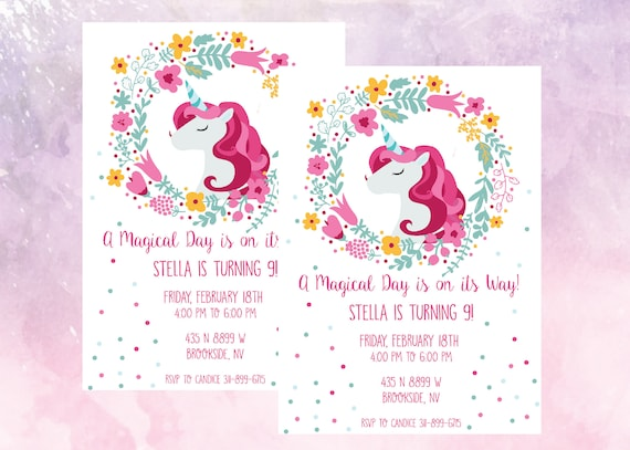 Unicorn Birthday Party Invitation Magical Celebration 9