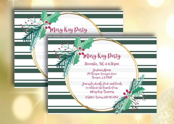 Mary Kay Holiday Party Invitation Flyer Essential Oils Maskara Lipsense Direct Sales Home Party Girls Night Open House