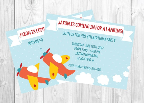 4 Year Old Boy Birthday Airplane Party Printable Invitation