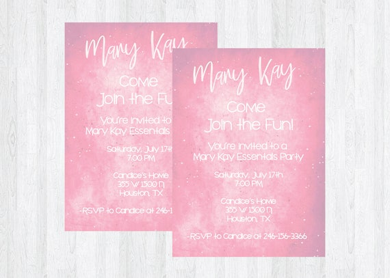 Mary Kay Essential Oils Maskara Lipsense Direct Sales Home Party Business Invitation Girls Night Open House Flyer Invite