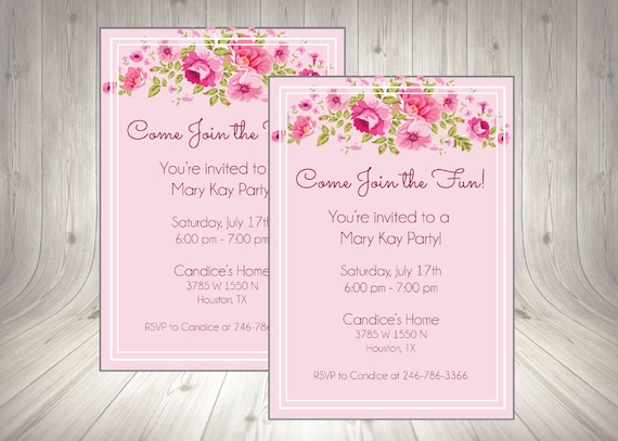 Direct Sales Home Party Invite Business Invitation Mary Kay Girls Night Open House Flyer Printable Digital Download