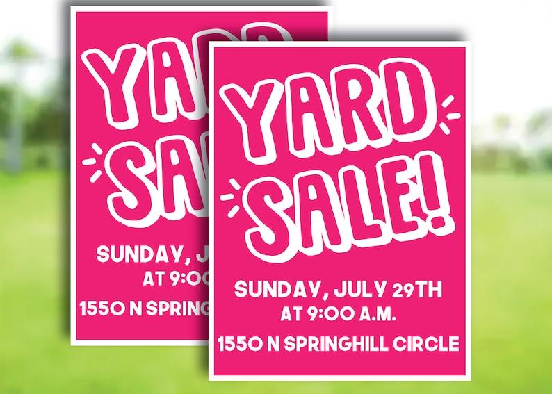 Yard Sale Flyer Garage Sale Fundraiser Printable Handout School Church Sports Camp Invitation Invite