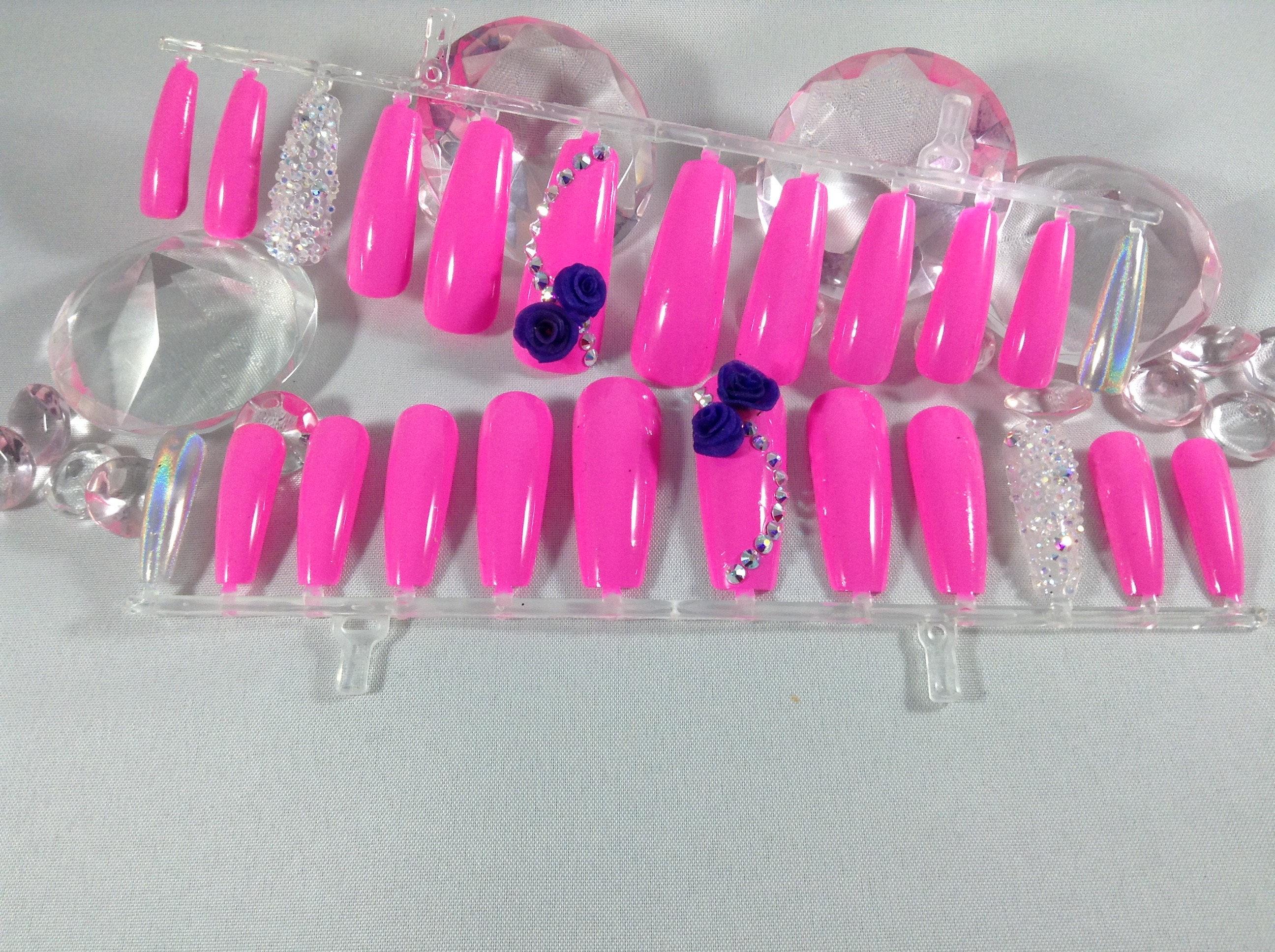 pink press on nails coffin nails 3d nails fake nail set | Etsy