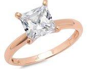 0.5 ct Brilliant Princess Cut Designer Genuine Flawless Clear Simulated Diamond 14K 18K Rose Gold Solitaire Ring