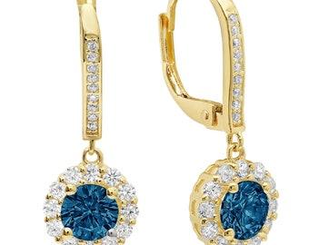 0.20ct Round Brilliant Cut Deep Green  Emerald CZ VVS1 Drop Dangle Earrings Solid 14k Yellow Gold Anniversary Birthday Bridal Gift