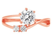 0.85 ct Brilliant Round Cut Designer Genuine Flawless Clear Simulated Diamond 14K 18K Rose Gold Three-Stone Ring