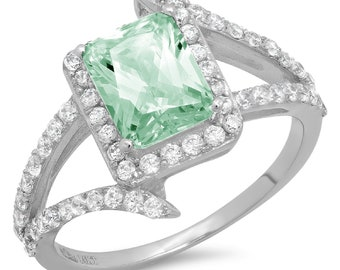 2.19 ct Heart Twisted Halo Mint Light Sea Turquoise Green Classic Promise Wedding Engagement Classic Designer  Ring Solid 14k White Gold