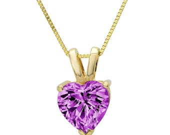 2 ct Brilliant Round Cut Solitaire Designer Genuine Flawless Simulated Alexandrite 14K 18K Rose Gold Pendant with 16 Chain