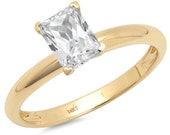 1 ct Brilliant Emerald Cut Designer Genuine Flawless Clear Simulated Diamond 14K 18K Yellow Gold Solitaire Ring