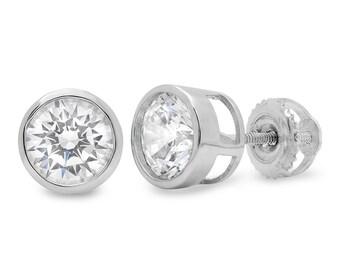 1//2 Carat Princesse Coupe Diamant Bleu Clous d/'oreilles or 14k