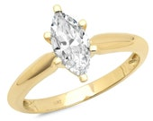 1 ct Brilliant Marquise Cut Designer Genuine Flawless Clear Simulated Diamond 14K 18K Yellow Gold Solitaire Ring