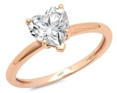 1 ct Brilliant Heart Cut Designer Genuine Flawless Clear Simulated Diamond 14K 18K Rose Gold Solitaire Ring