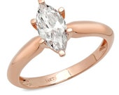 1 ct Brilliant Marquise Cut Designer Genuine Flawless Clear Simulated Diamond 14K 18K Rose Gold Solitaire Ring