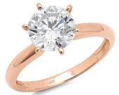 0.5 ct Brilliant Round Cut Designer Genuine Flawless Clear Simulated Diamond 14K 18K Rose Gold Solitaire Ring
