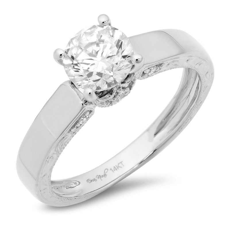 1.7ct Round Clear White Sapphire VVS1 Promise statement Bridal Wedding Engagement Classic Designer  Ring Solid 14k White Gold