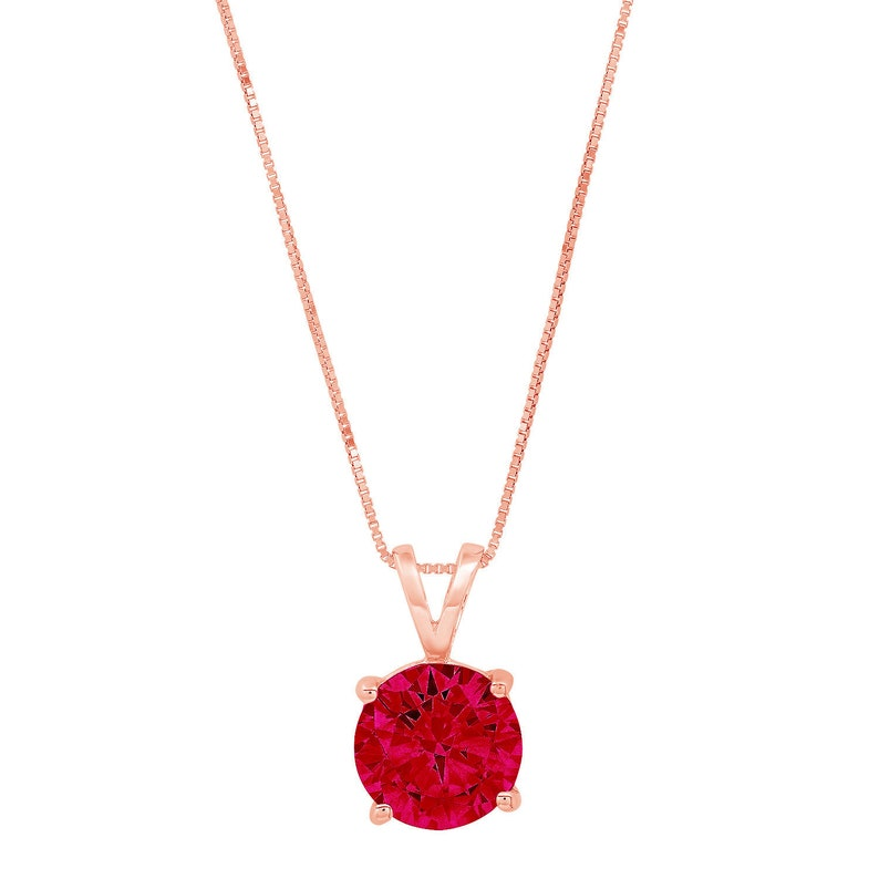 0.50 ct Round Brilliant Cut Ideal VVS1 Deep Red Natural Garnet Pendant Necklace Bridal Anniversary 16 box chain 14k Solid Rose Gold
