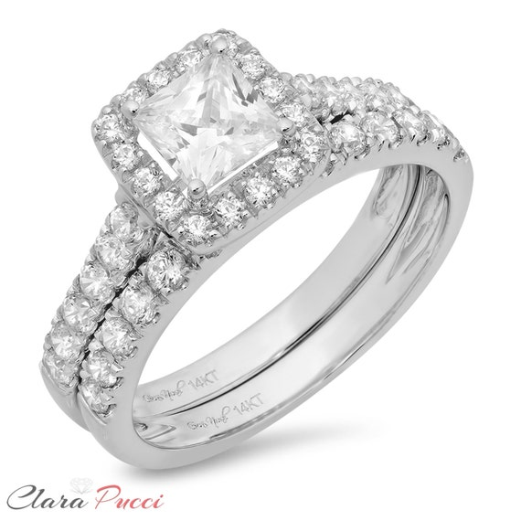 2.30ct Princess Pave Diamond Engagement Ring Wedding Band Solid 14k White Gold