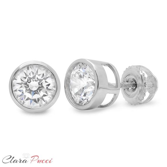 2.00 CT Round Cut créé diamant Boucles d/'oreilles 14K Solide Or Jaune Clous Vis-Back