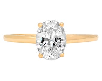 Unique Engagement Rings For Women, Women Rings, Rings Women, 1.25 Ct Simulated Oval Cut Solitaire Bridal Ring Band Solid 14k Yellow Gold