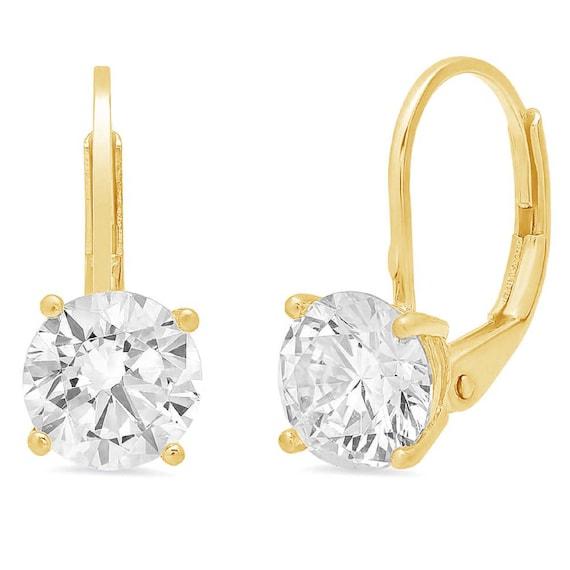 Party Wear 2.0Ct Round Cut Diamond Star Wedding Dangle Earrings 14K White Gold