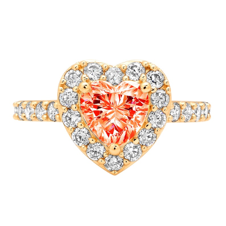 2.25 ct Heart HaloFiery Red Simulated Diamond Classic Promise Bridal Wedding Engagement Classic Designer  Ring Solid 14k Yellow Gold