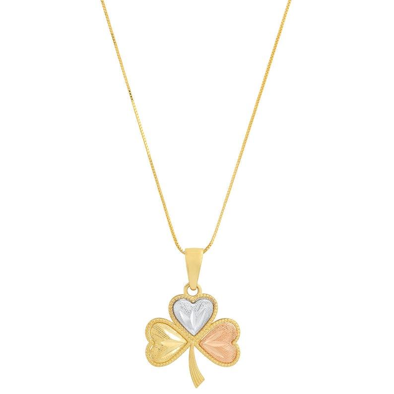 Solid 14k Multi Gold Dainty Irish Celtic Shamrock 3 Leaf Clover Designer Fine Jewelry Valentine/'s day Gift Charm Pendant 16 inch chain