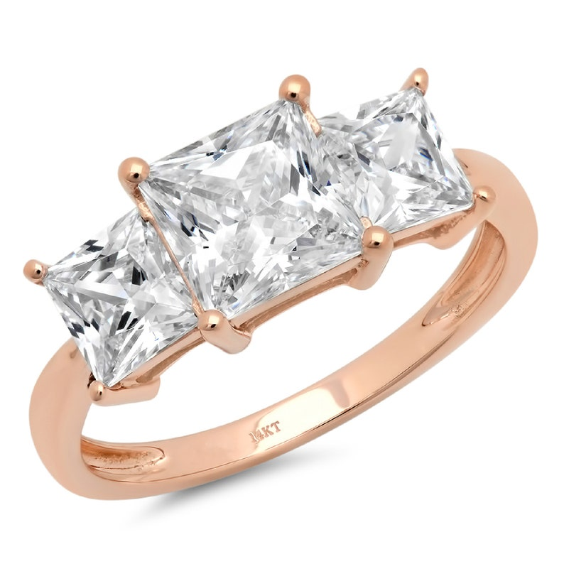3.0 ct Princess 3 Stone Clear White Sapphire VVS1 Promise Bridal Wedding Engagement Classic Designer  Ring Solid 14k Rose Gold