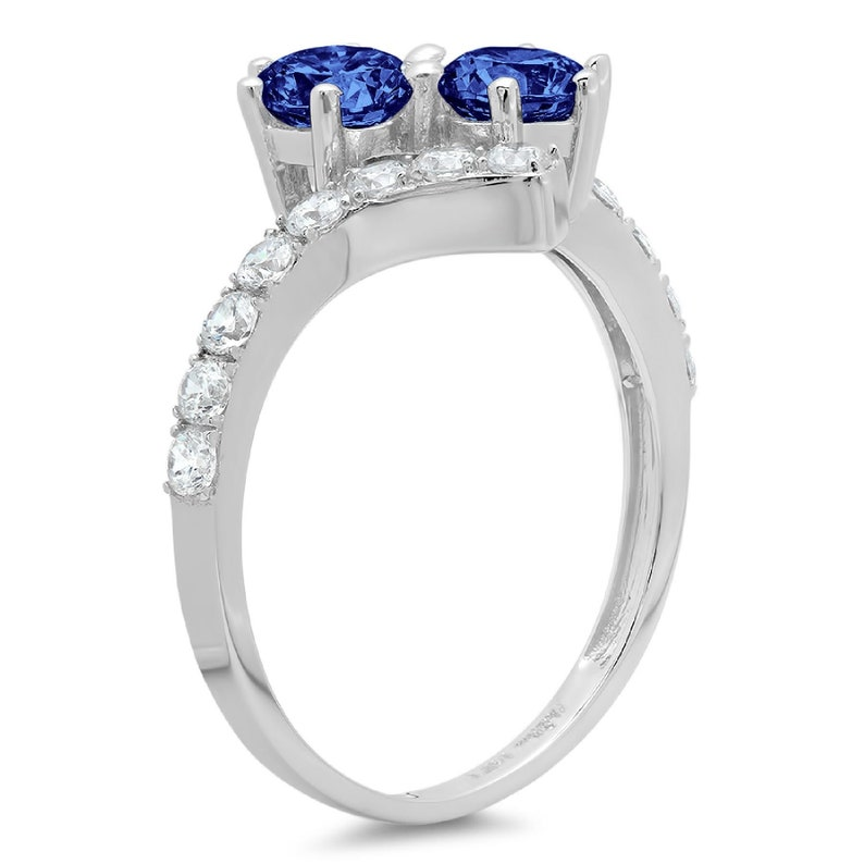 1.98 ct Brilliant Round Cut Designer Genuine Flawless VVS1 Simulated Tanzanite 14K 18K White Gold Solitaire with Accents Ring