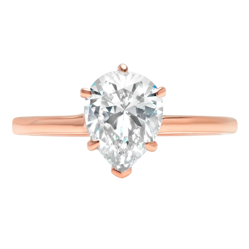 Pear Cut Pear Halo Pear Rings Pear Ring 2.0 ct Pear Solitaire Engagement Wedding Ring 14k Rose Gold Pear Band