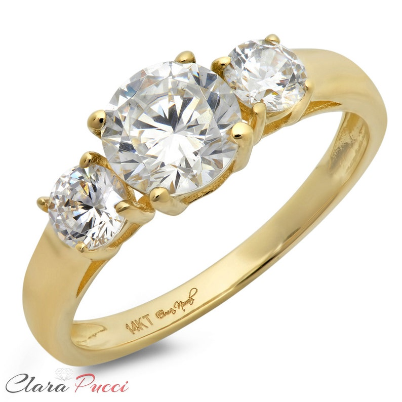 Solid Gold Rings For Women Solid Gold Ring Set 1.50 CT Three Stone Ring Engagement Wedding Band 14K Yellow Gold Solid Rings Gold