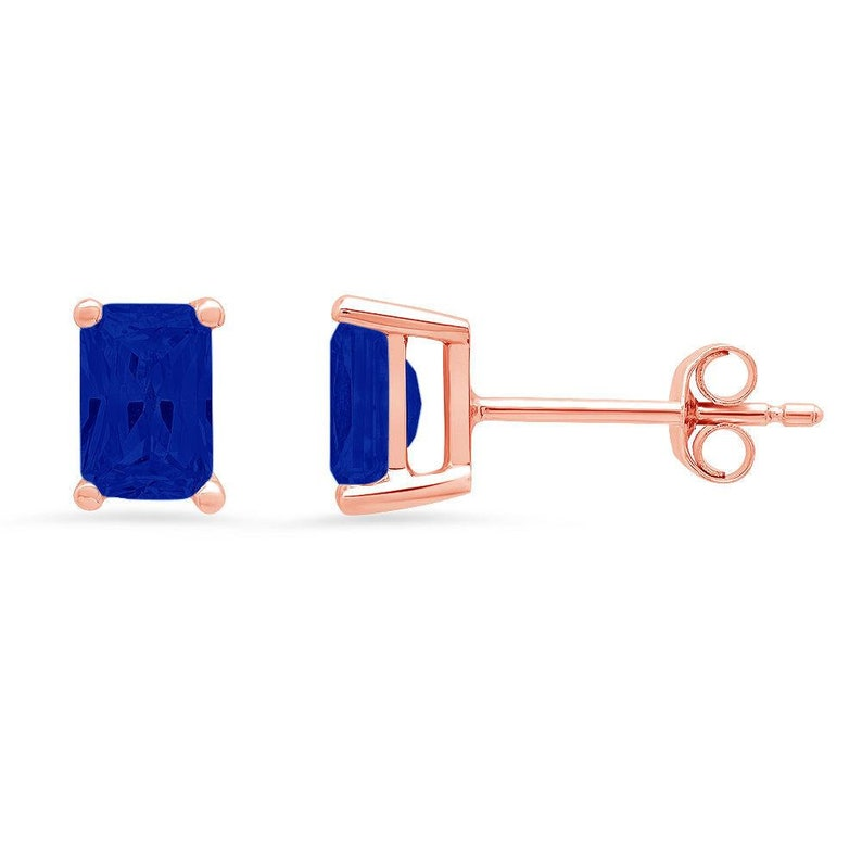 1 ct Brilliant Emerald Cut Solitaire Studs Designer Genuine Flawless Simulated Blue Sapphire 14K 18K Rose Gold Earrings Push back