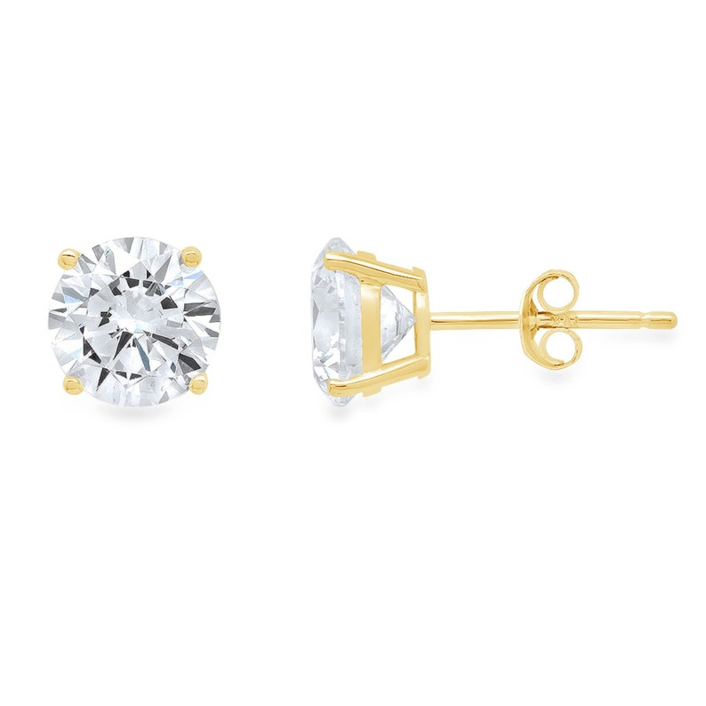 1.5 ct Brilliant Round Cut Solitaire Studs Designer Genuine Flawless VVS1 White Sapphire 14K 18K Yellow Gold Earrings Push Back