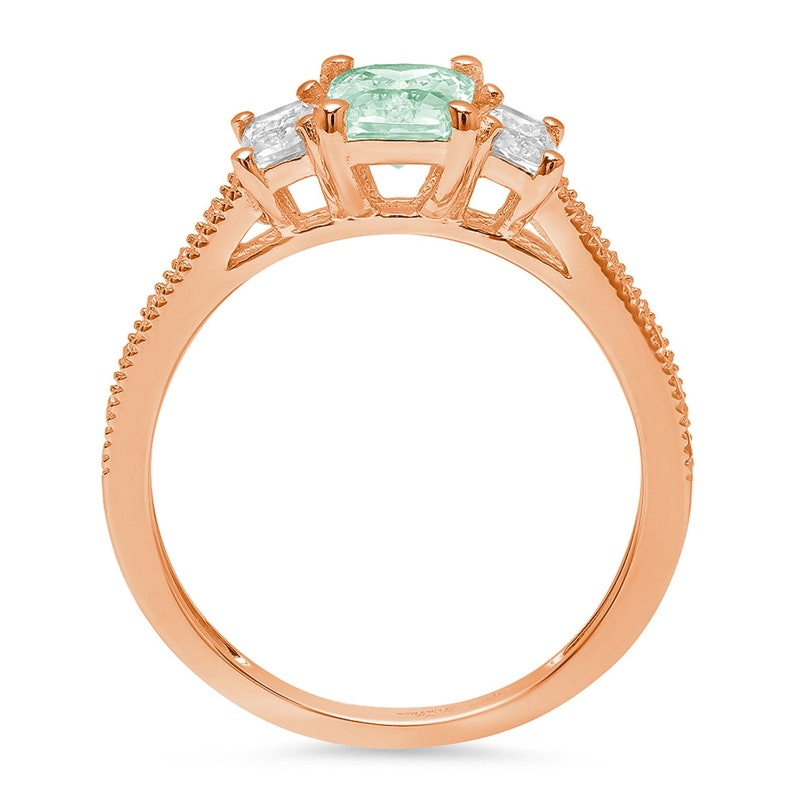 1.74 ct Brilliant Emerald Cut Designer Genuine Flawless Green Simulated Diamond 14K 18K Rose Gold Solitaire with Accents Three-Stone Ring