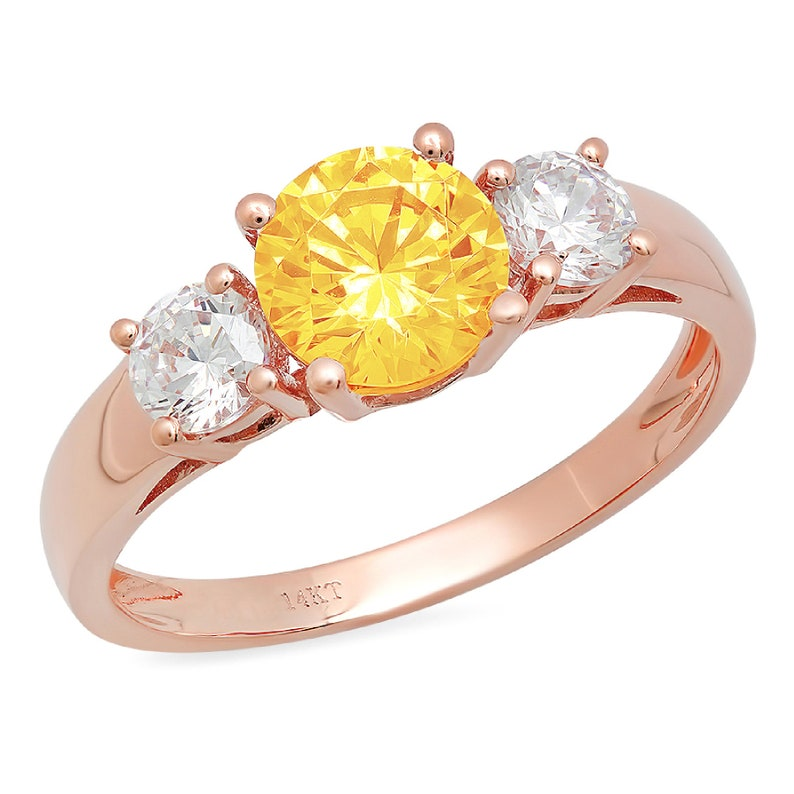 1.50 ct Round 3 stone Yellow Orange Natural Citrine VVS1 Classic Promise Bridal Wedding Engagement Classic Designer Ring Solid 14k Rose Gold
