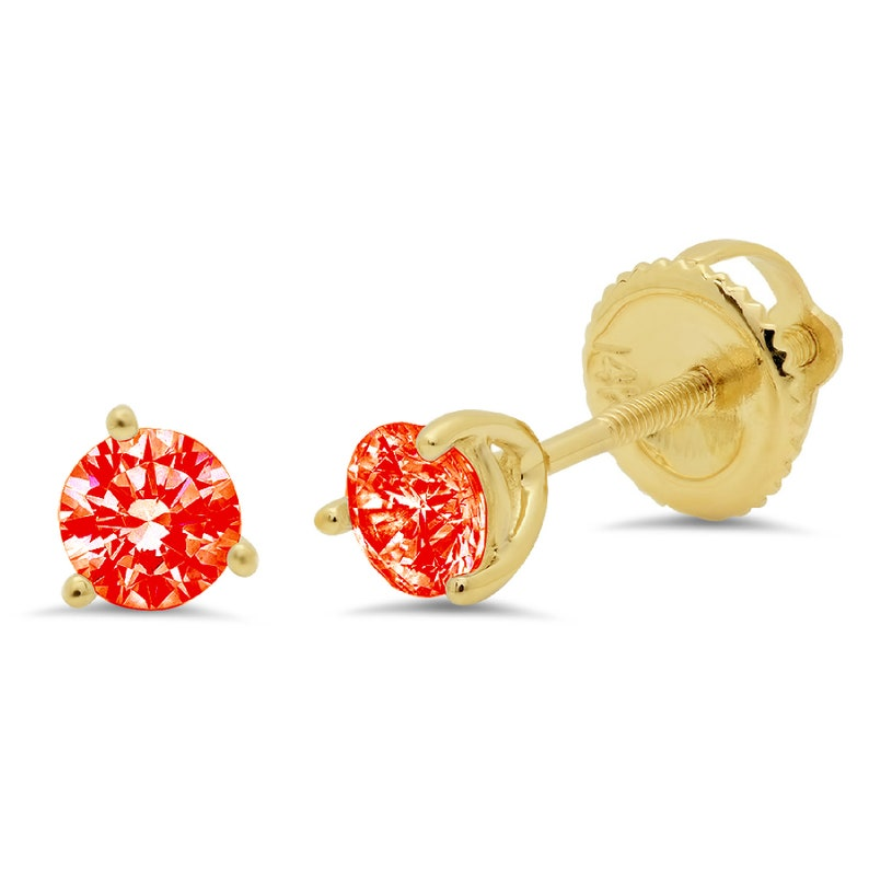 0.5ct Round Brilliant Cut  Fiery Red Simulated Diamond Stud Martini Earrings Solid 14k Yellow Gold Anniversary Birthday Bridal Gift