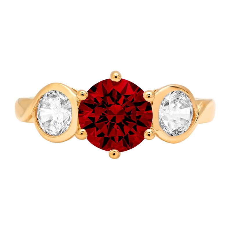 1.85 ct Round 3 stone Deep Red Natural Garnet VVS1 Promise Bridal Wedding Engagement Classic Designer Ring Solid 14k Yellow Gold