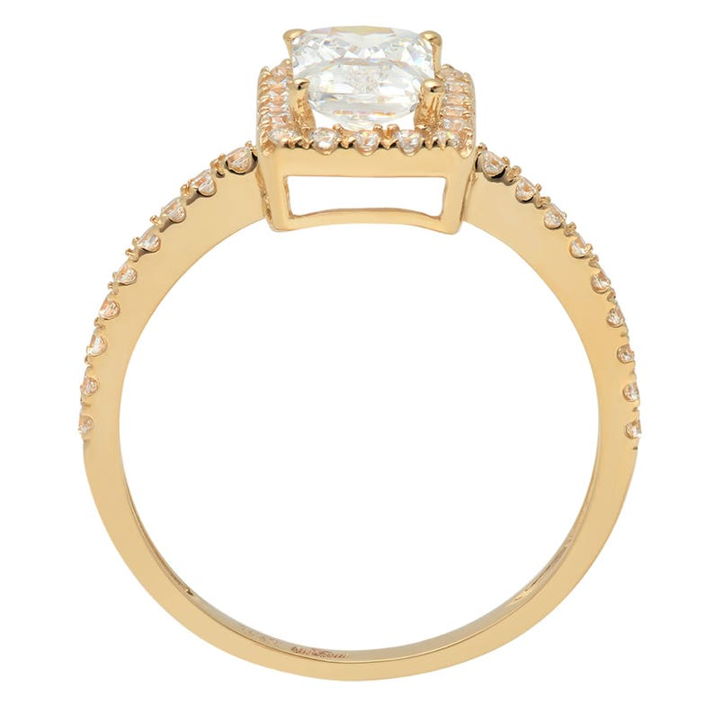 1.85ct Emerald Cut Sim Halo Engagement Ring Bridal Band 14k Yellow Gold Rings Woman Gift Promise Band Woman Gift Band Woman Promise Band
